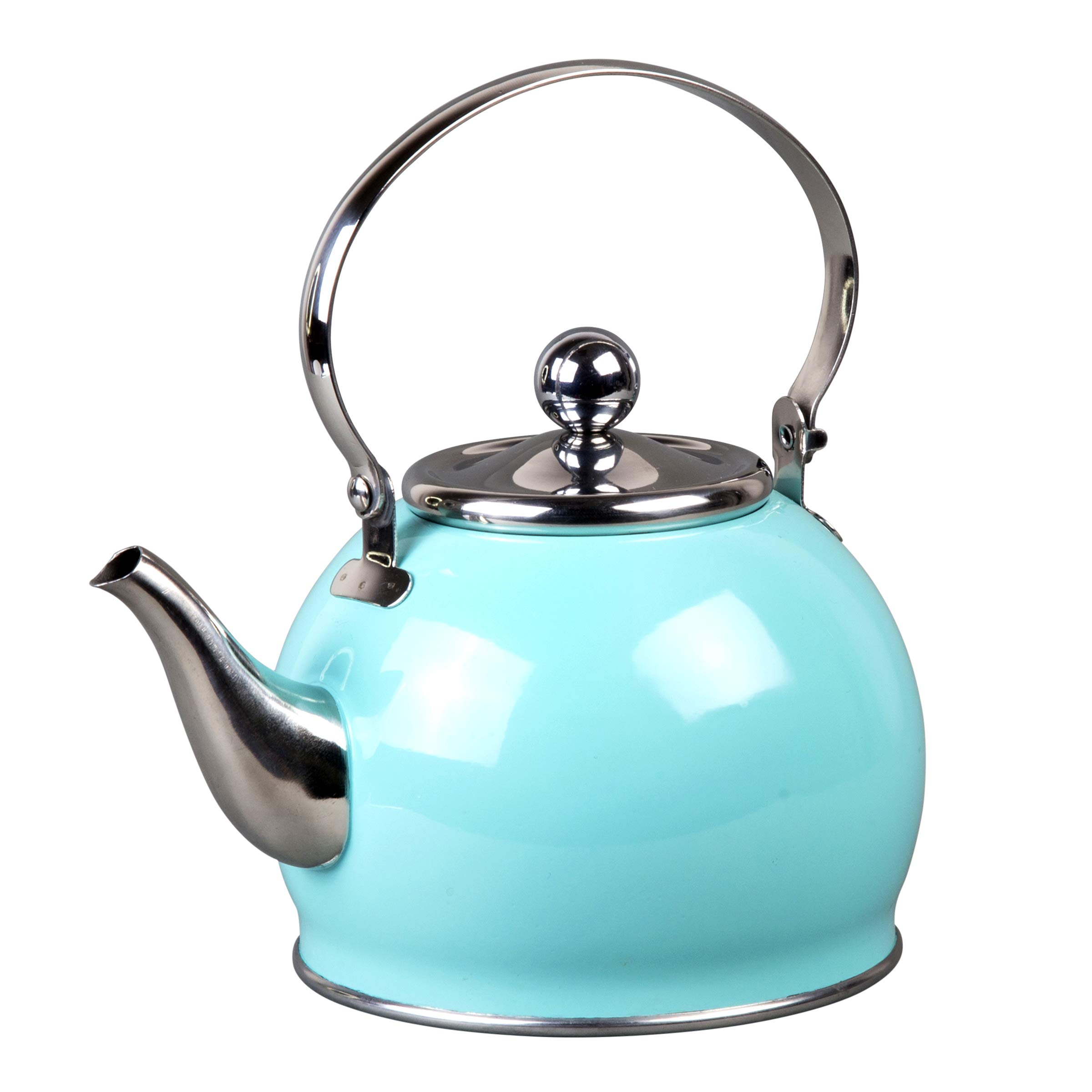 Creative Home 77097 Royal Stainless Steel Tea Kettle with Removable Infuser Basket, Folding Handle, 1.0 Quart, Aqua Sky Finish