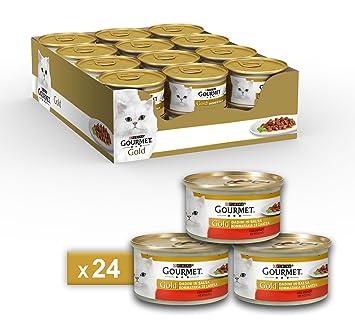 Gourmet Gold Alimento para el Gato Dados de Salsa con Manzo, 85 g - Pack de 24 Unidades: Amazon.es: Productos para mascotas