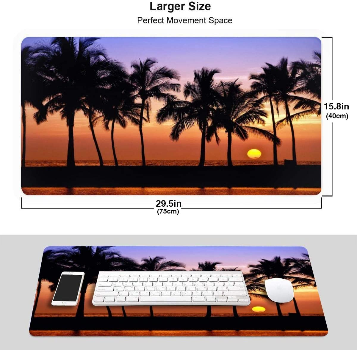 Sunset Pacific Lanikai Hawaii Colorful Sky Wavy Large Gaming Mouse Pad Extended Long Desk Pad 30x16 Mousepad Non-Slip Rubber Stitched Edges Keyboard Pad for Computers Laptop