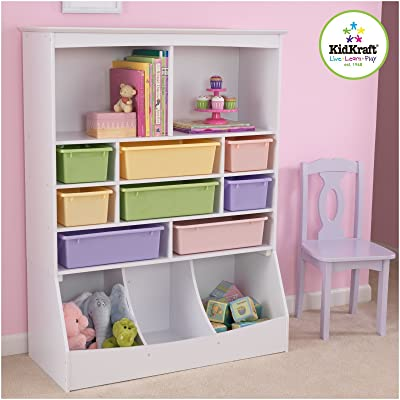 """KidKraft Wooden Wall Storage Unit with 8 Plastic Bins & 13 Compartments - White, 53"""" x 20"""" x 8"""": Toys & Games"""