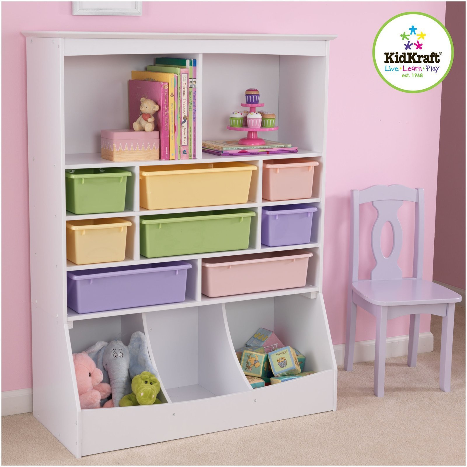KidKraft Wooden Wall Storage Unit with 8 Plastic Bins & 13 Compartments - White by KidKraft