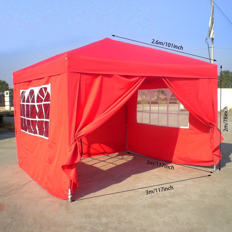 Homdox Tienda Pabellón Carpa 3M*3M con Paredes Laterales y Ventanas Plegables para Fiestas, Eventos, Boda,en Jardín o al Aire Libre,Rojo