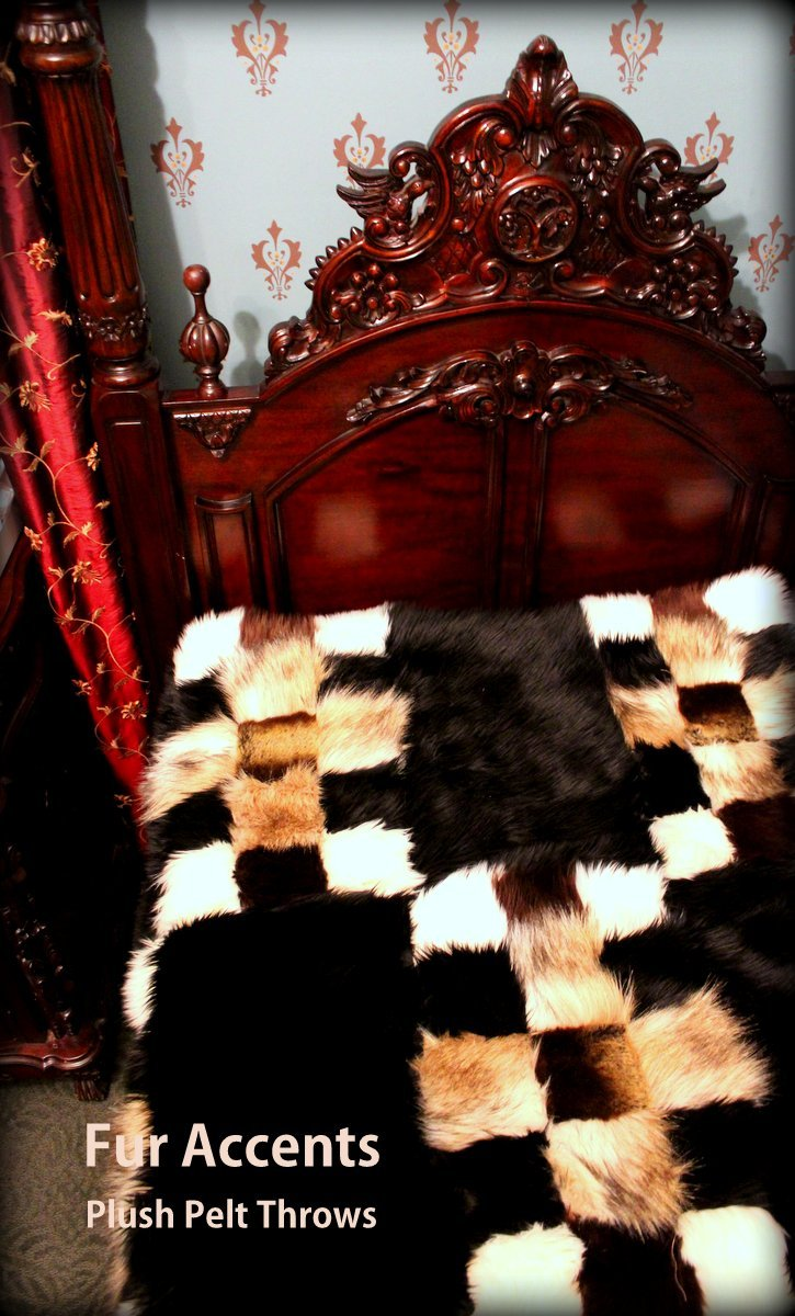 Fur Accents Premium Faux Fur King Size Bedspread / Throw Blanket / Luxury Patchwork Mink Fox Coyote Bear King Size