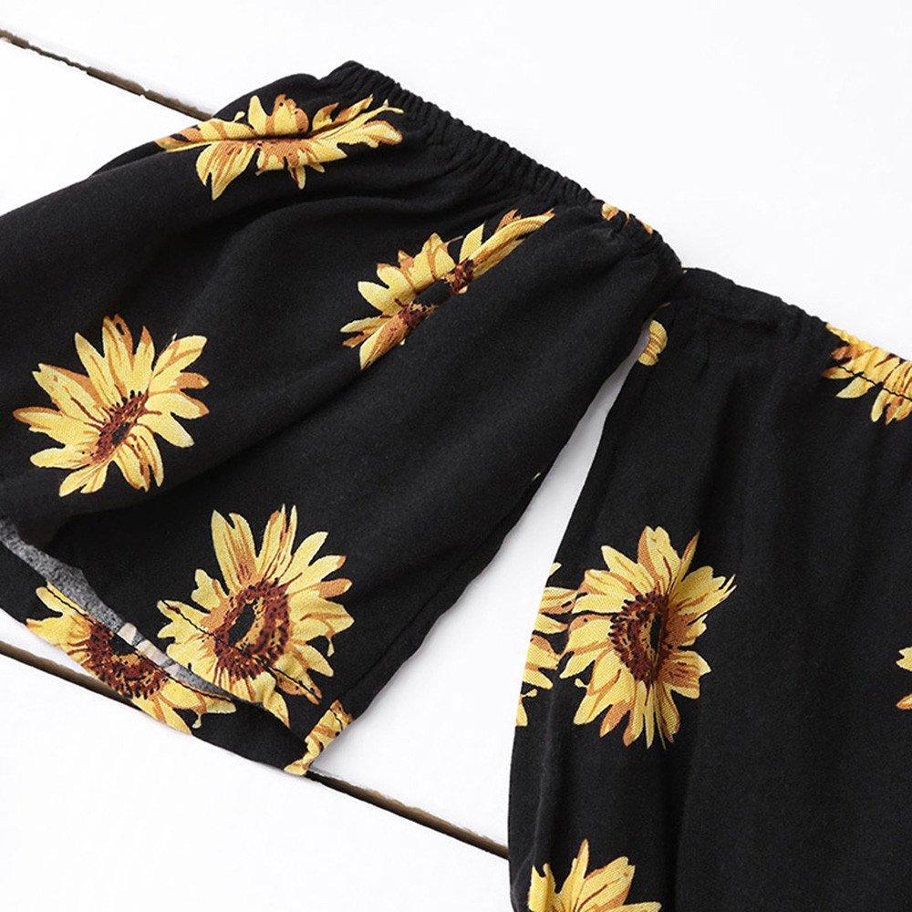 HGWXX7 Two Piece Set Tops Women Off Shoulder Sunflower Print Beachwear Blouse