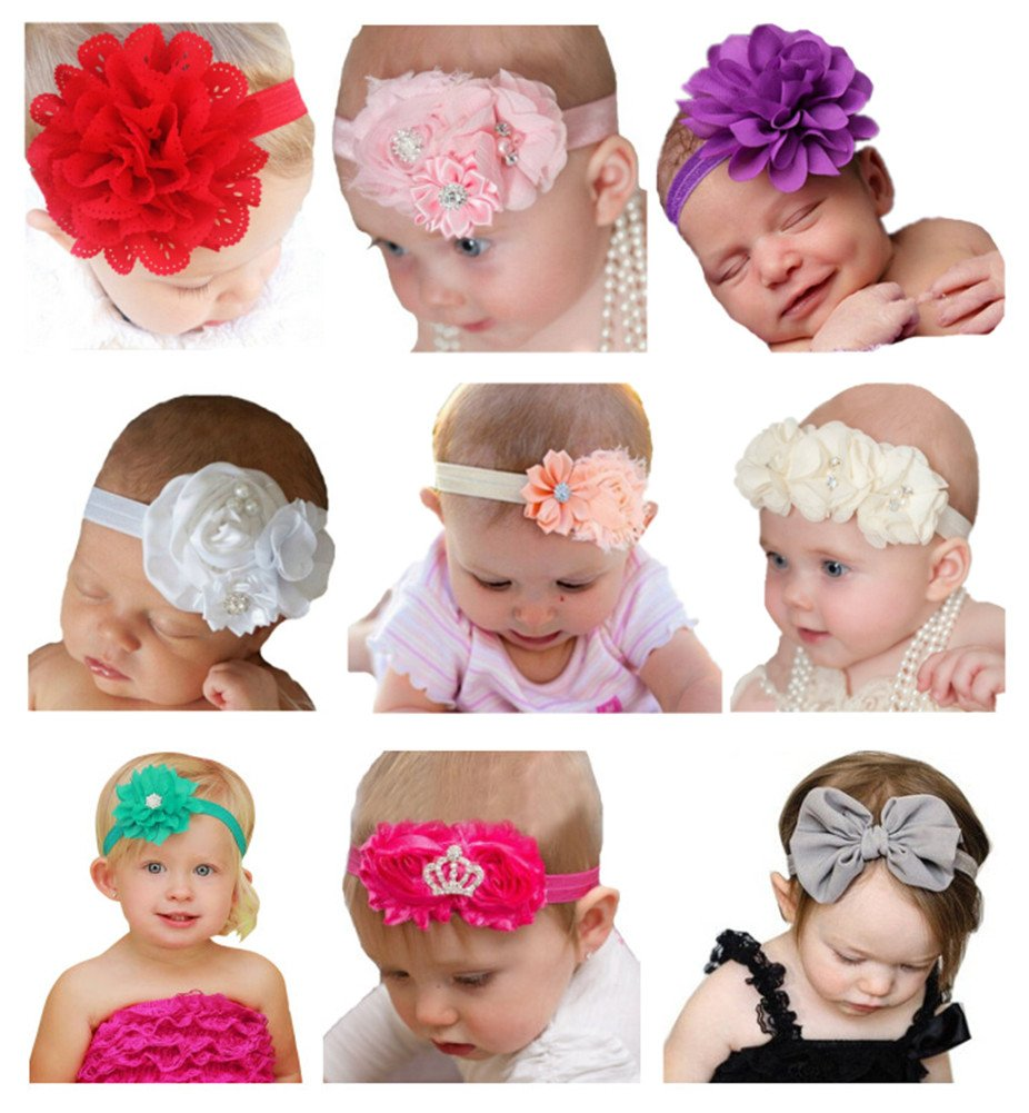 Qandsweet Baby Girl's Beautiful Headbands with Flower Mix 9 Models for Photograph