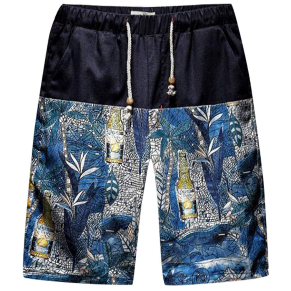 Hawaiian Shorts Pants for Men - Wave Print Large Size Fit Sport Soft Casual Beach Drawstring Shorts with Pockets