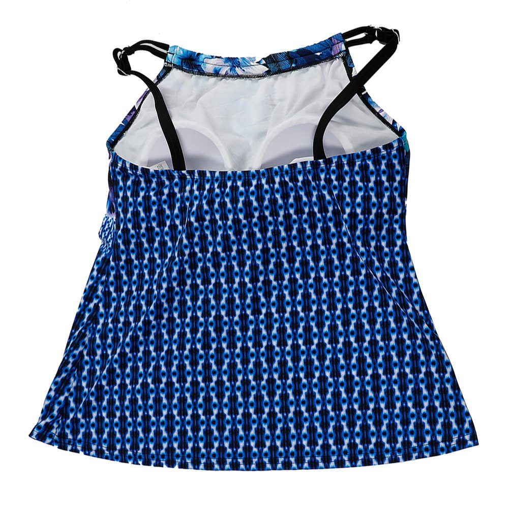 DUSISHIDAN Women Printed Swim Top Slimming Tankini Tops, Retro Blue Floral by DUSISHIDAN (Image #4)