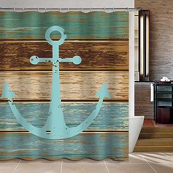 Uphome Rustikal Vintage Stern Auf Holz Badezimmer Dusche Vorhang