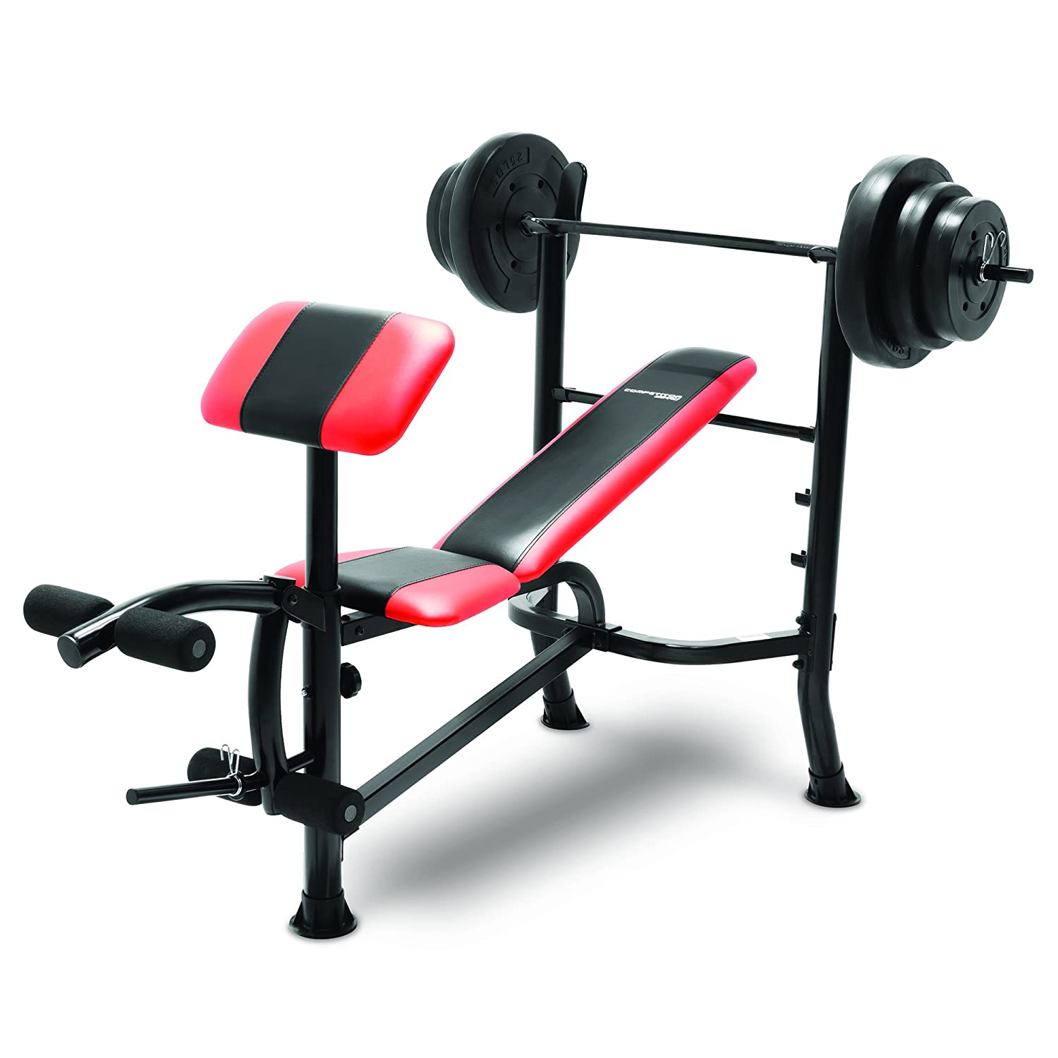Amazon.com : Marcy Competitor Standard Bench with 100 lbs weight Set Combo  (black & Red) - CB-2982 : Sports & Outdoors