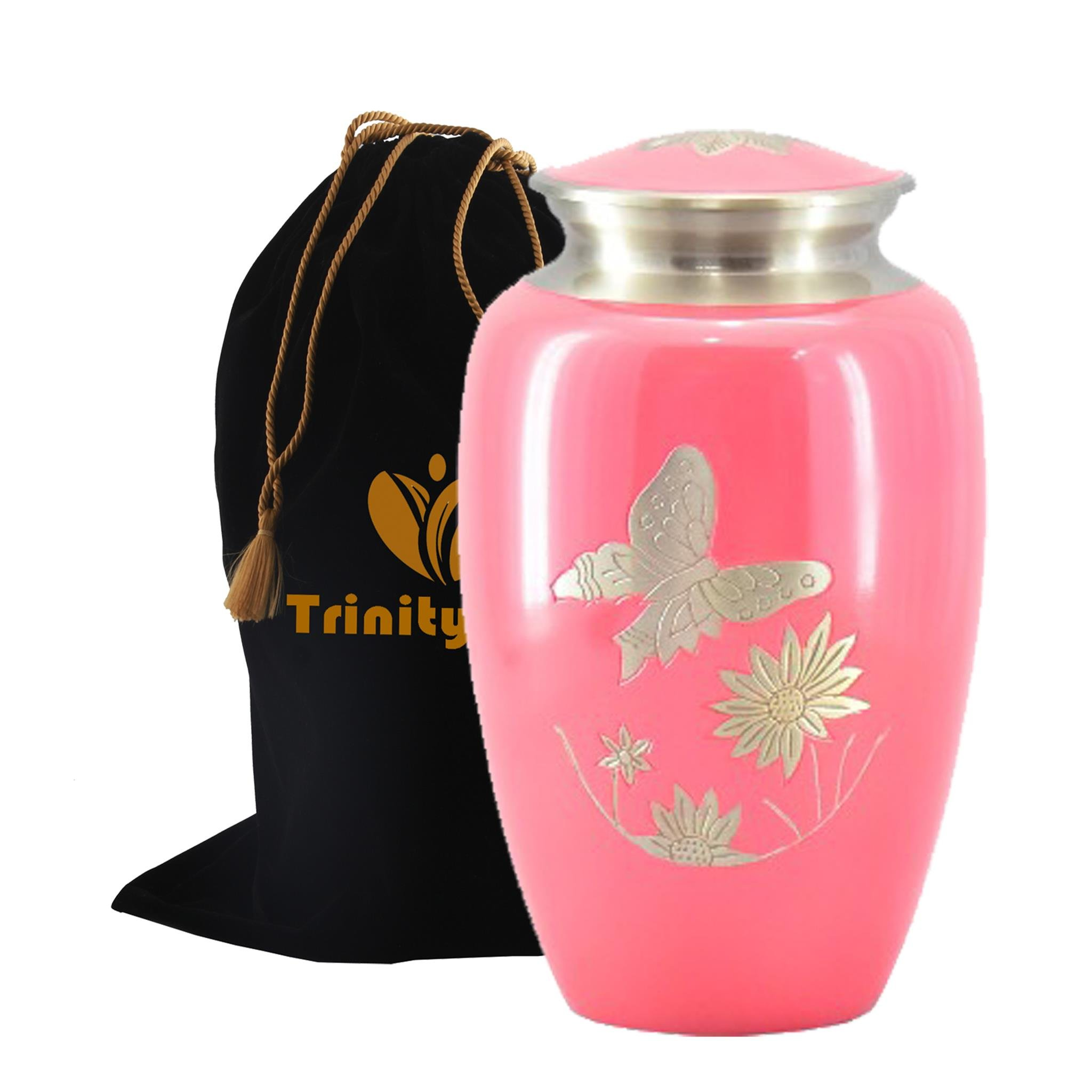 Pink Butterfly Garden Brass Cremation Urn - Beautifully Handcrafted Adult Funeral Urn - Solid Brass Funeral Urn - Affordable Urn for Human Ashes with Free Velvet Bag