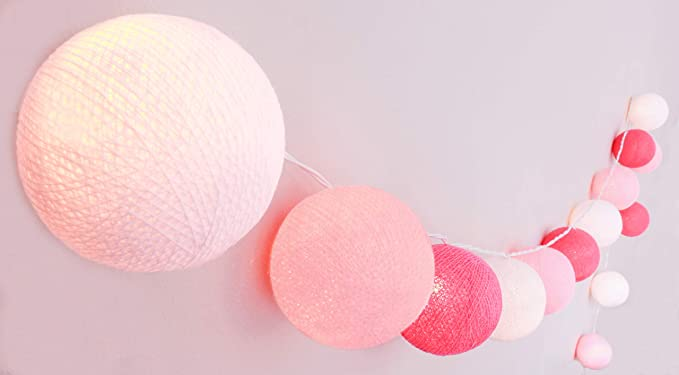 CREATIVECOTTON Guirlande Lumineuse, Boules de Coton avec Mode Timer et Mode  Veilleuse (Chambre de Petite Fille, 20 boules)