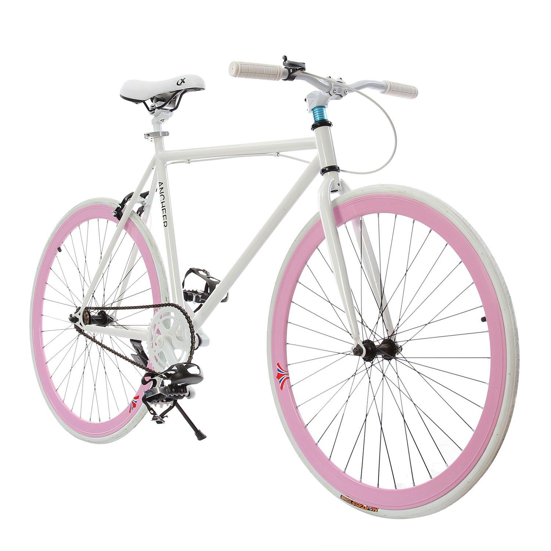 Ancheer固定ギア自転車単一速度Urban固定ギア B0713SCC6Mピンク&ホワイト