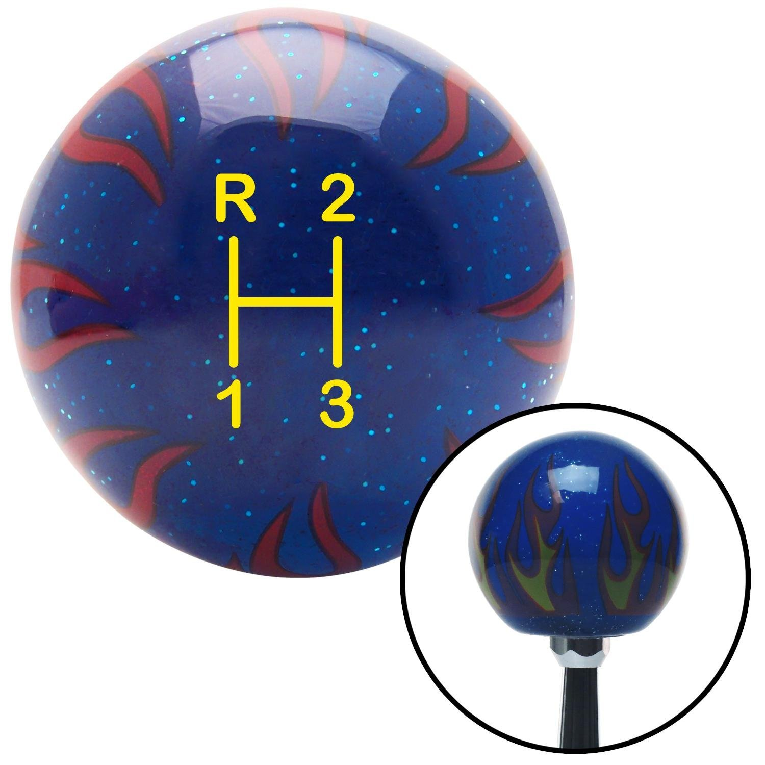 American Shifter 250948 Blue Flame Metal Flake Shift Knob with M16 x 1.5 Insert Yellow Shift Pattern 11n