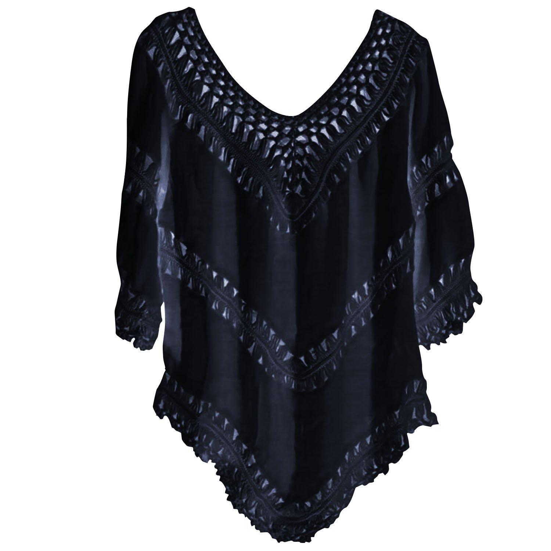 SUNNOW® Modisch Damen Sommerkleid Strandkleid Bikini Cover Up tief V-Ausschnitt 3/4 Arm Blumenspitze Frauen Bohemian Häkeln Blusen