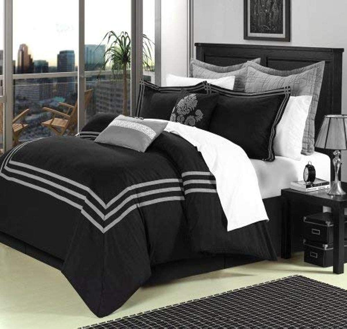 Chic Home Cosmo 8 Piece Comforter Set Embroidered Hotel Collection with Pillow Shams, King Black