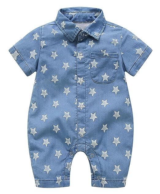 FEOYA Traje Ropa Mono Recien Nacido Mameluco Bebés Peleles Camiseta Vaquera Manga Corta Impresión: Amazon.es: Ropa y accesorios