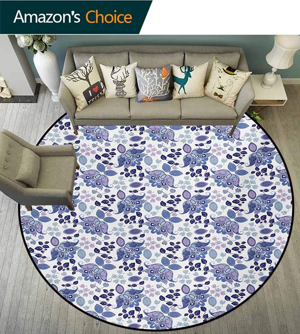 RUGSMAT Paisley Round Kids Rugs,Boho Leaves in Pastel Tones Curved Tulip Florets Asian Essence Folk Design Learning Carpet Non Skid Nursery Kids Area Rug for Playroom,Diameter-71 Inch by RUGSMAT (Image #3)