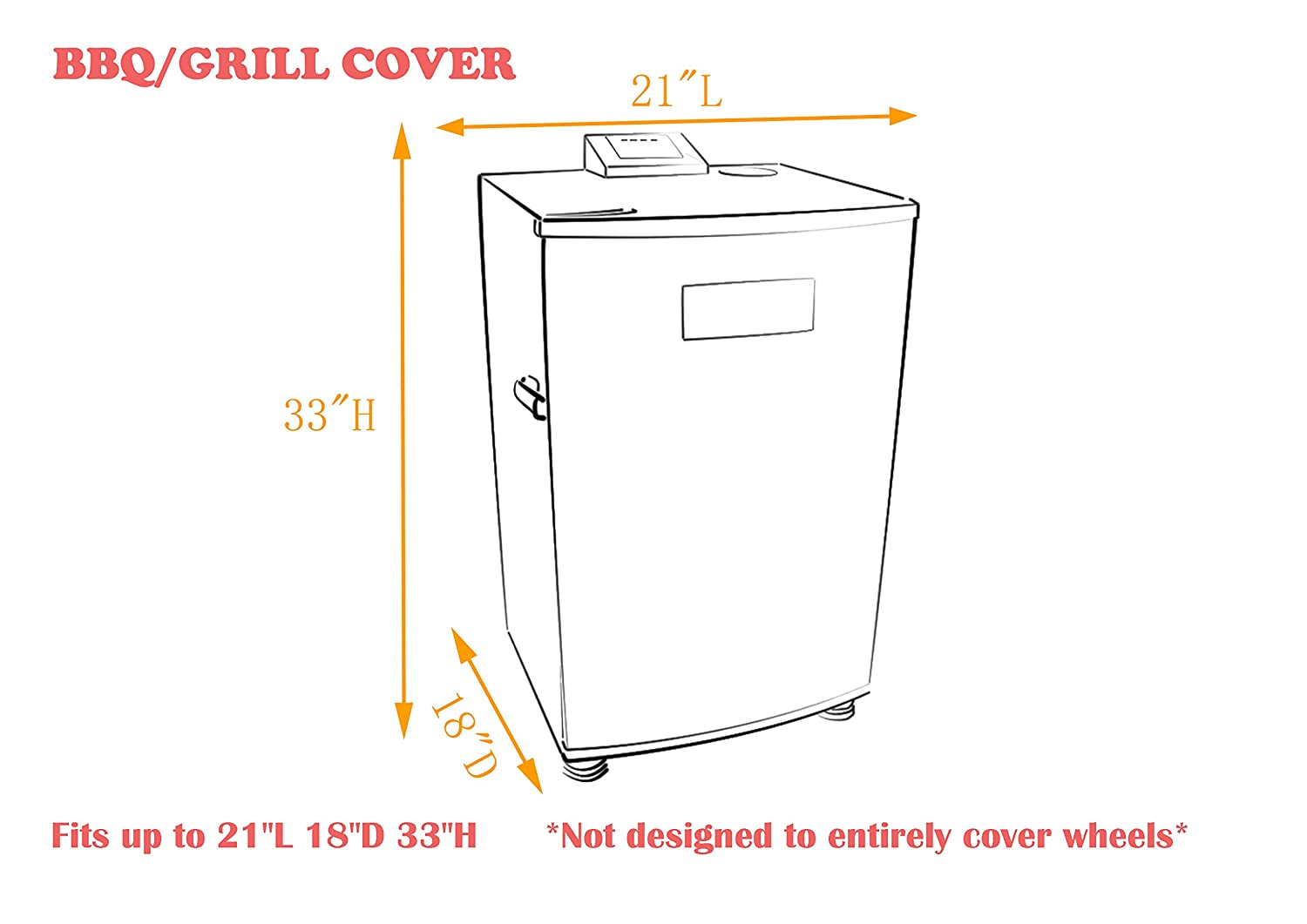 iCOVER square smoker cover G21611 Water proof heavy duty 21 L X 18D X 33 H for Masterbuilt 30-Inch electric smoker