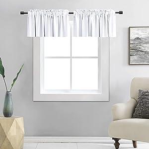 DONREN Pure White Valances for Window 42 by 12 Inches Long - 2 Panels Rod Pocket Room Darkening Kitchen Valances