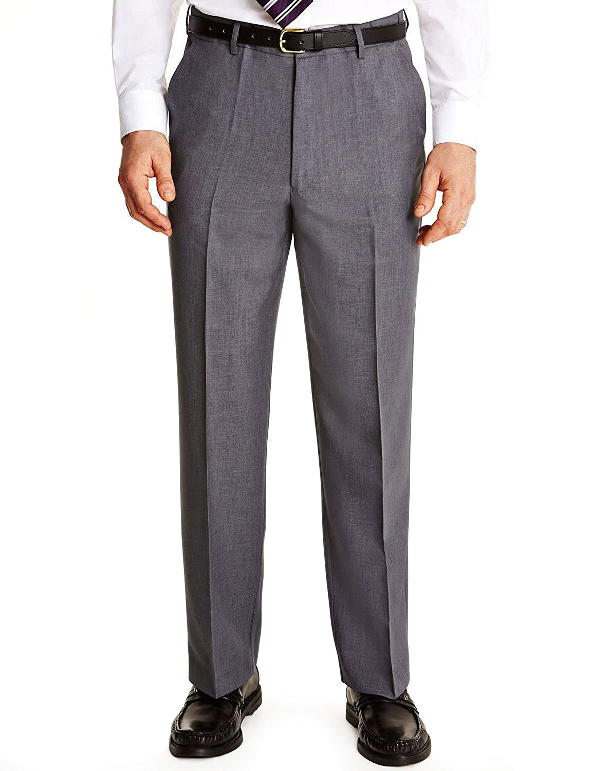 FARAH Mens Flex Trouser Pants with Self-Adjusting Waistband Grey 38W x 27L