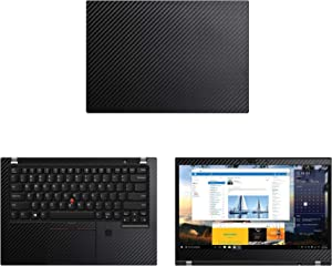 "Decalrus - Protective Decal for Lenovo ThinkPad T490 (14"" Screen) Laptop Black Carbon Fiber Skin case Cover wrap CFlenovoThinkpad14_T490Black"