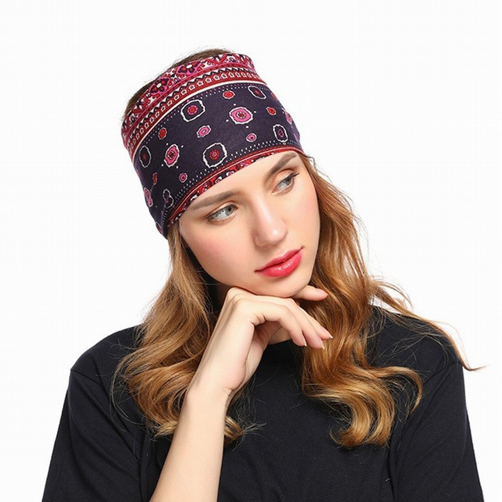Amazon.com   Boho Wide Elastic Turban Headbands for Women Hippie Yoga  Headwrap Bandeau Bandana Headband (Black)   Beauty 89656b225d7