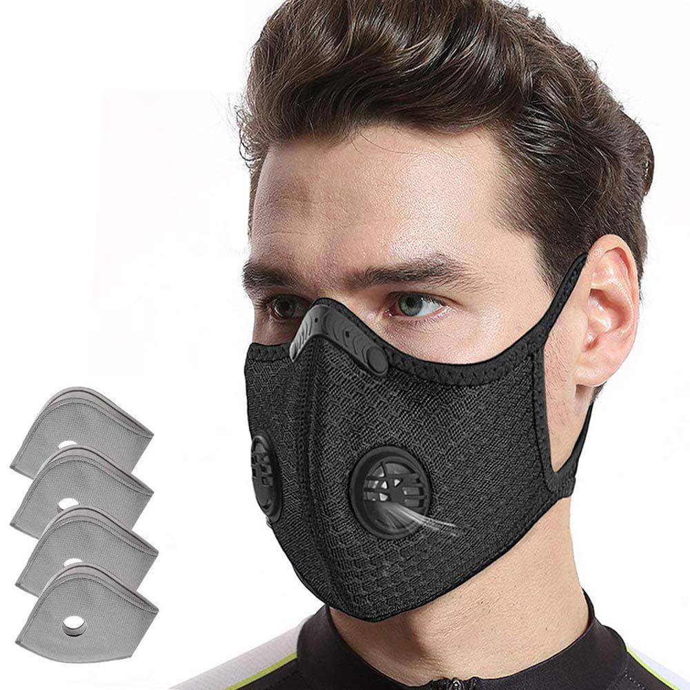 AOPERK Dust Mask, Dust Mask with 4pcs Additional Activated Carbon Filter, Washable and Reusable Breathable Mask for Pollen Allergy, Woodworking Mowing, Running, Cycling, Outdoor Activities