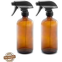 16oz / 500ML Empty Amber Dark Brown Glass Spray Bottle (2 Pack), Mist & Stream Sprayer, BPA Free, Boston Round Heavy Duty Bottle, For Essential Oils, Cleaning, Kitchen, Hair, Perfumes