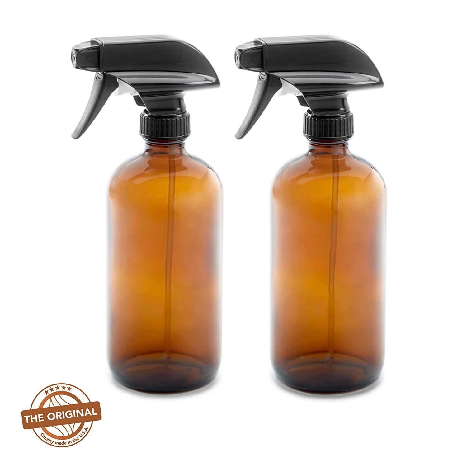 EMPTY AMBER DARK BROWN GLASS SPRAY BOTTLES w/Labels and Caps - (2 Pack) - 16oz / 500ML Empty - Mist & Stream Trigger Sprayer - BPA Free - Boston Round Heavy Duty Bottle for Essential Oils, Cleaning, Kitchen and Hair The Household Factory
