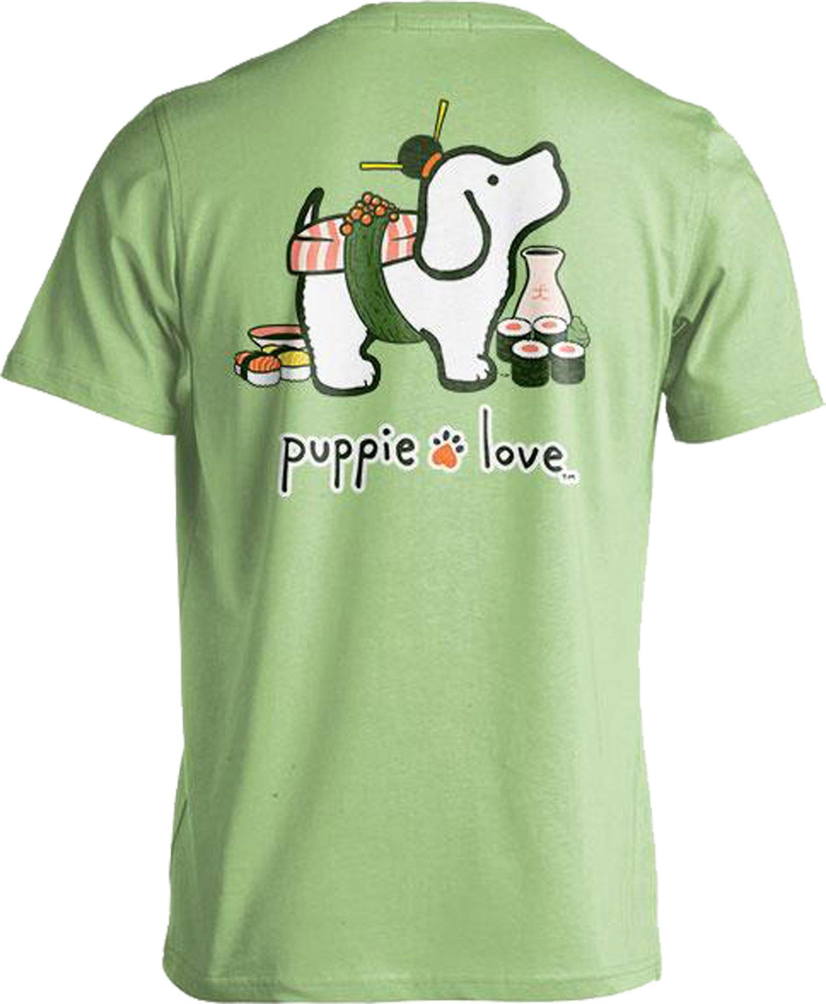 Rescue Dog Adult Unisex Short Sleeve Cotton T-Shirt, Sushi Pup (Medium, Pistachio)