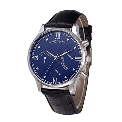 SUPERON reloj Hombre Rose Gold Mens Watches Top Luxury PU Leather Wristwatch Mens Gift Quartz Watch