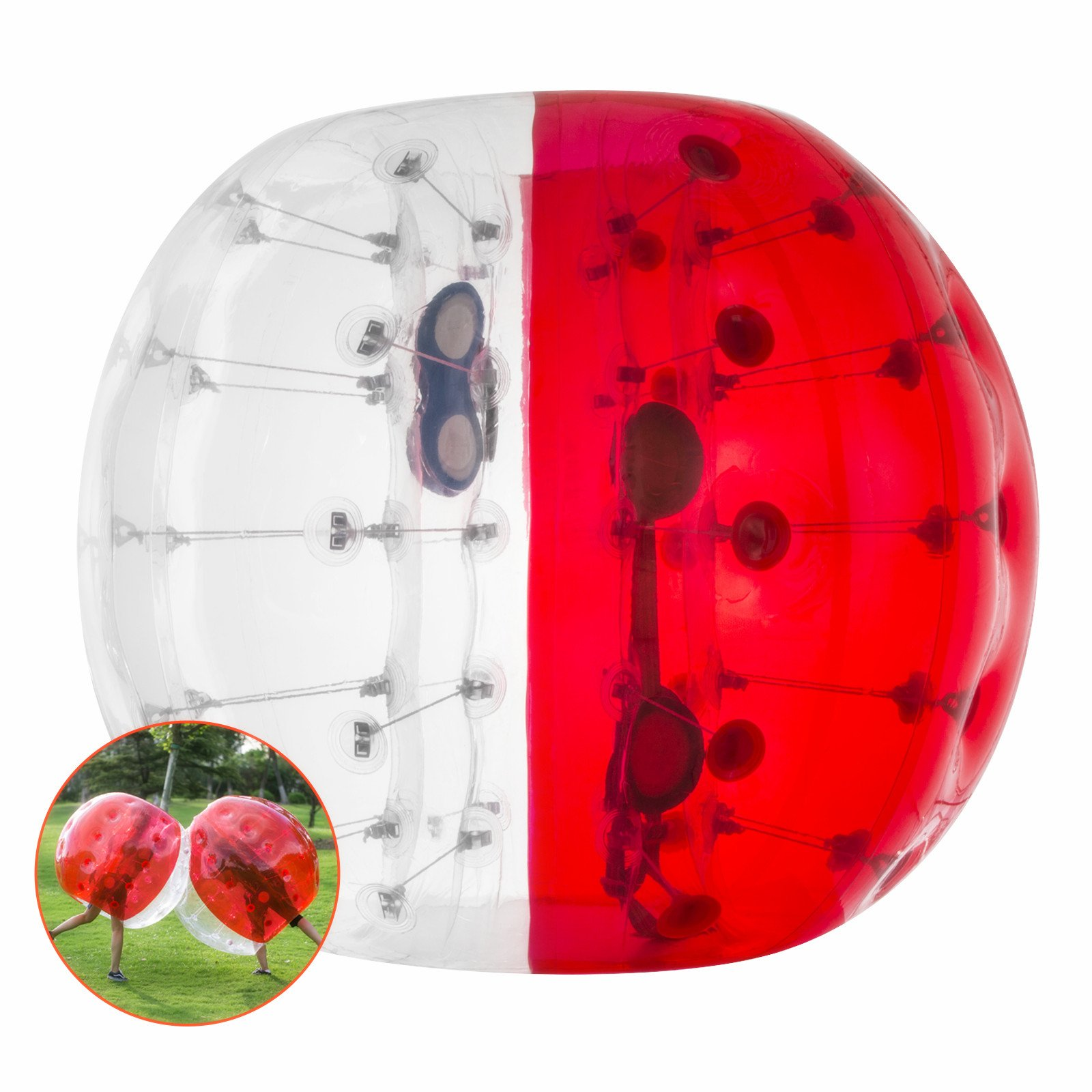 BestEquip Inflatable Bubble Soccer Bumper Ball 4ft/ 5ft for Adult Giant Human and Child Outdoor Inflatable Ball (Red and Transparent1, 5ft)