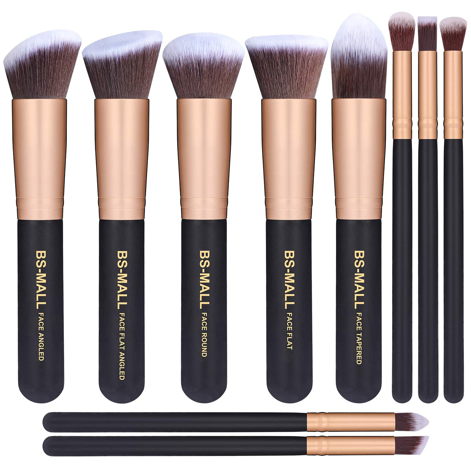 BS-MALL(TM) Makeup Brushes Premium Makeup Brush Set Synthetic Kabuki Cosmetics Foundation Blending Blush Eyeliner Face Powder Brush Makeup Brush Kit (10pcs, Golden Black): Beauty