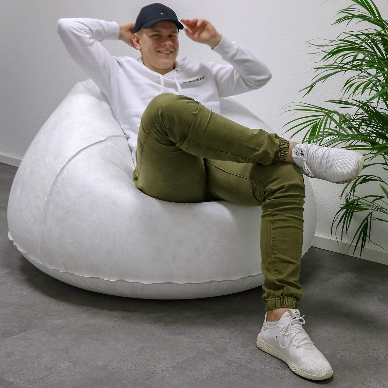 Tronje LED Poltrona XXL gonfiabile Sedile 120kg Cambio Colore Poltroncina Club Lounge Beanbag Bianco
