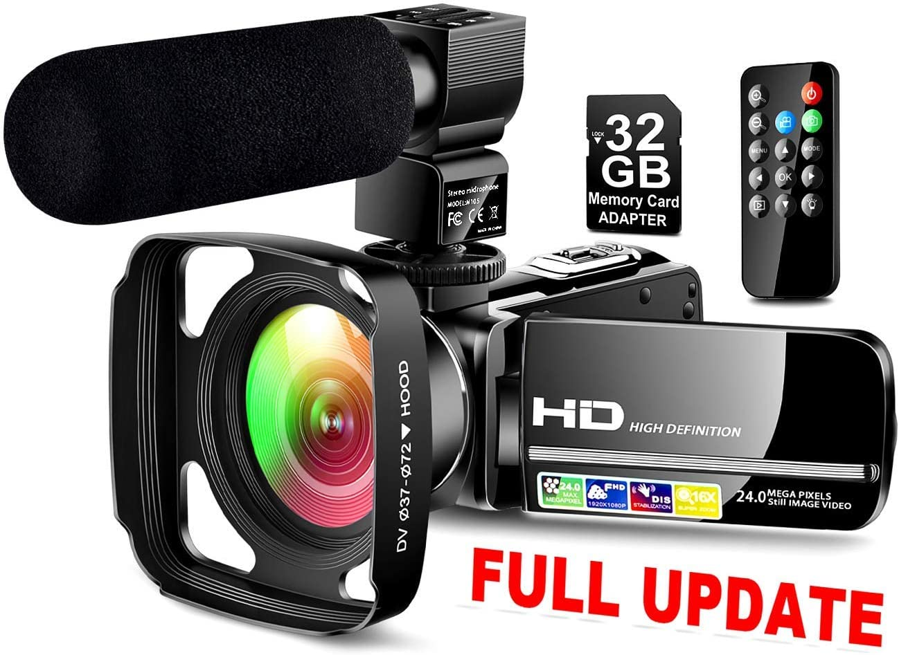 【Full Upgrade】 Ultra HD Video Camera Camcorder with Powerful Microphone 1080P Vlogging Camera Recorder 3.0 Inch IPS Screen 16X Zoom Camcorders YouTube Camera Remote Control, Lens Hood,Battery Charger