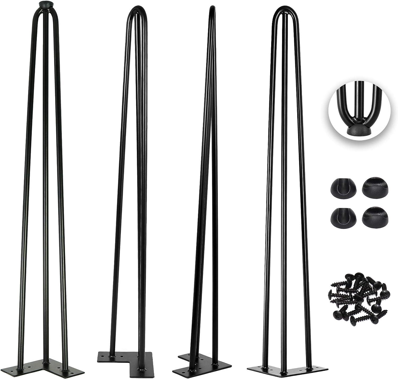 36 Inch Hairpin Legs 1/2 Inch Tick - Satin Black - Leg Protectors, Screws, Set of 4 – Easy to Install - Metal Legs - Desk Legs - Furniture Legs - Mid Century Modern by Homeland Hardware