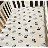 NinkyNonk Baby and Toddler Boys and Girls Cotton Fitted Crib Sheet(Dog)