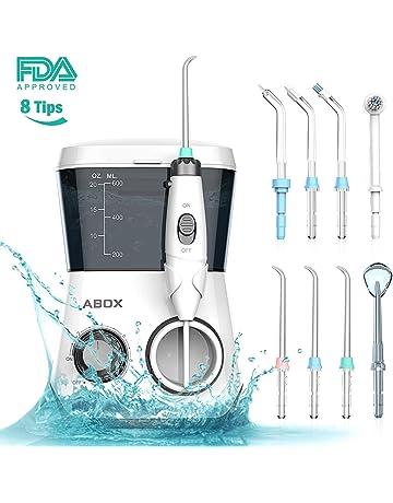 ABOX Irrigador Dental Profesional, irrigador bucal con 8 boquillas multifuncionales, 10 ajustes de presión