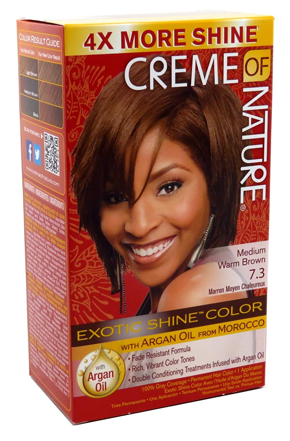 Creme Of Nature Color #7.3 Medium Warm Brown Exotic Shine (Pack of 2)