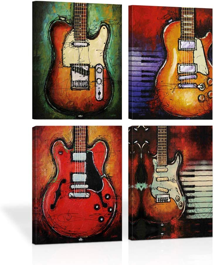 Amazon Com Abstract Guitar Music Wall Art Canvas Red Purple Prints Paintings Home Decor Decal Life Pictures 4 Panel Large Posters Hd Printed For Bedroom Living Room Wooden Framed Ready To Hang 12 X16 4