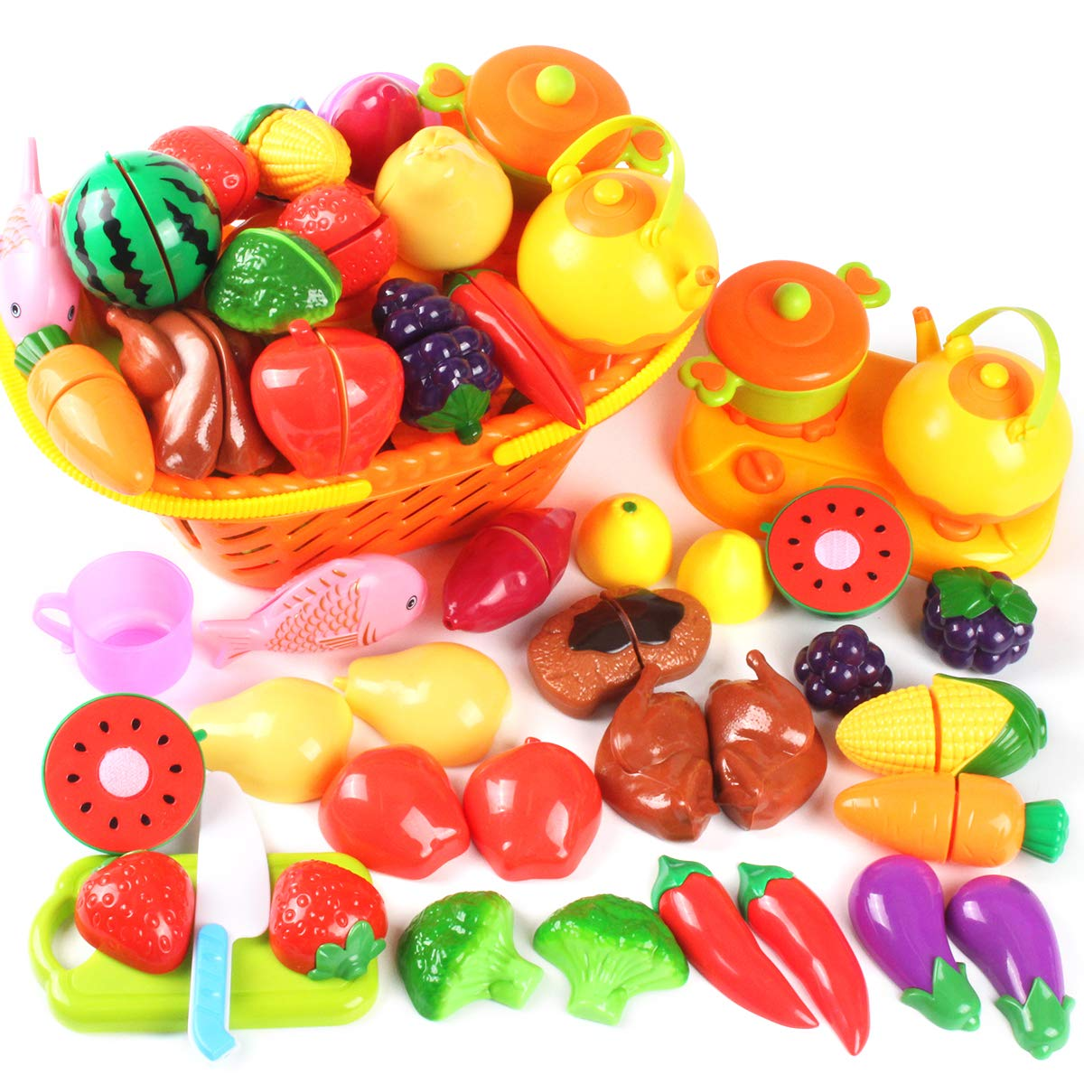AMOSTING Kids Pretend Food Play Kitchen Toys for Kids, Plastic Food Fruit  Cutting Set for Kids Play Kitchen Set, 37 Piece Kitchen Play Food for Kids  ...