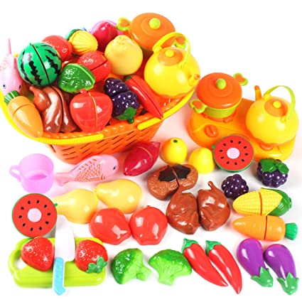 Amosting Kids Pretend Food Play Kitchen Toys For Kids Plastic Food Fruit Cutting Set For Kids Play Kitchen Set 20 Piece Kitchen Play Food For Kids