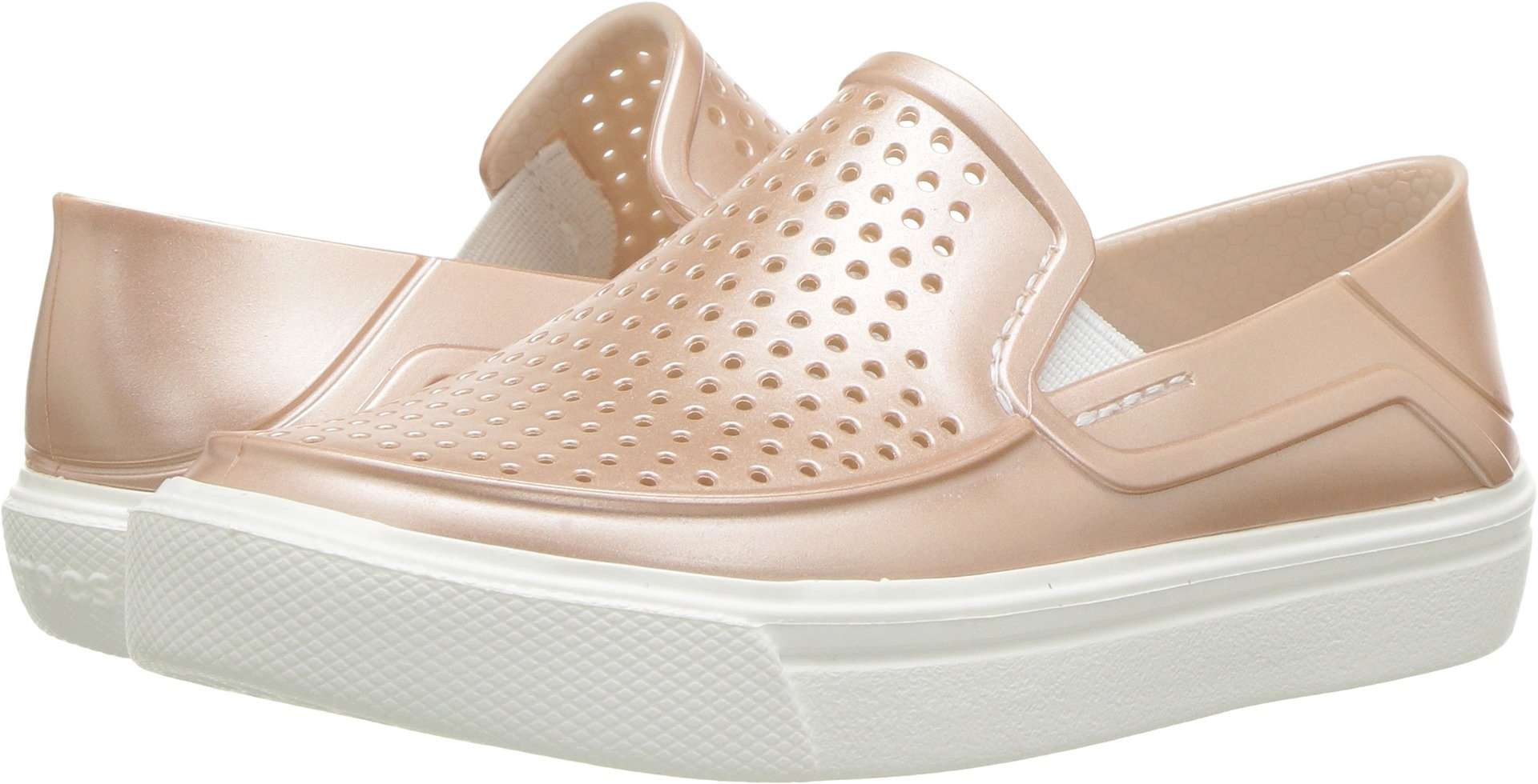 Crocs Girls' Citilane Roka Metallic SLP K Clog, Rose Dust, 2 M US Little Kid