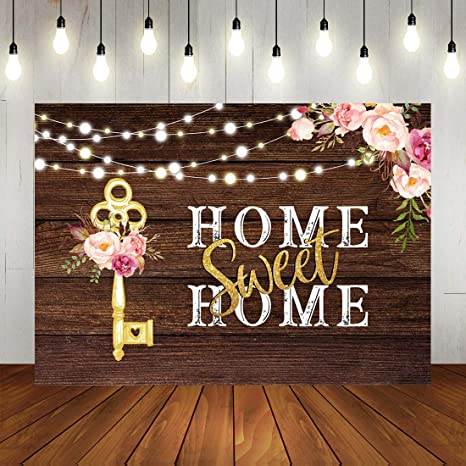 Mocsicka Home Sweet Home Backdrop Housewarming Party Photography Background 7x5ft Vinyl Housewarming Banner Backdrops