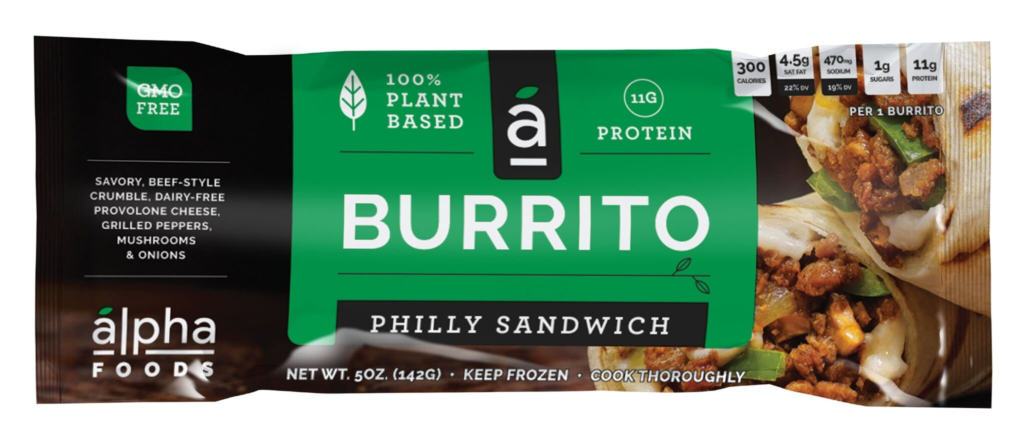 Alpha Foods Plant Based Burrito, Philly Sandwich, 5 Ounce (Pack of 12) by Alpha Foods