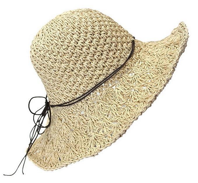 Mujeres Moda Verano Sombrero de Paja Sol Sombrero plegable Viajes Playa  Cap 843be60880c