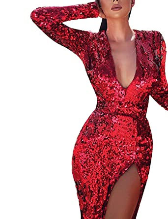 fb5db68aaca Ecosunny Women s Sexy V-Neck Side Split Long Sleeves Cocktail Party Sequins  Dress Red S