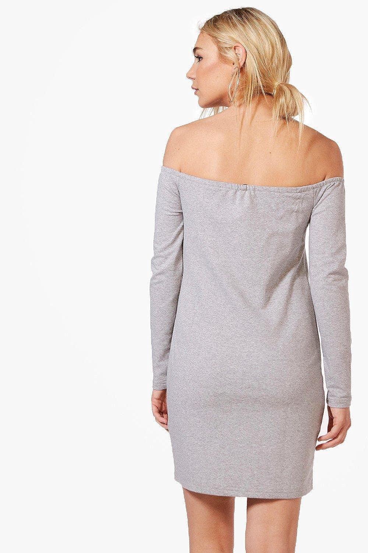 Damen Grau Marl Maya Schulterfreies Sweatshirt-kleid Mit Schnürung - 8:  Amazon.de: Bekleidung
