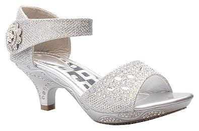 7454d05ce134 OLIVIA K Girls Sparkly Rhinestone Kitten Heel Platform Dress Sandals  (Toddler/Little Girl)