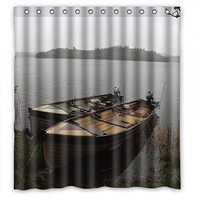 River Bank Fishing Boat Shower Curtain Measure 66quot